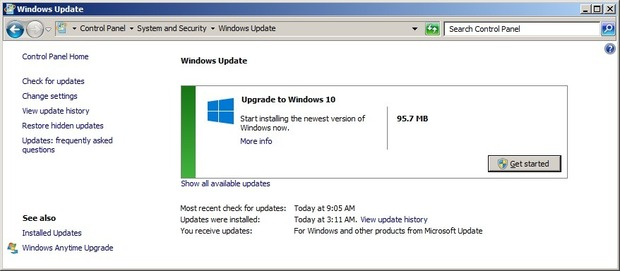 Окно центра обновления Windows Update